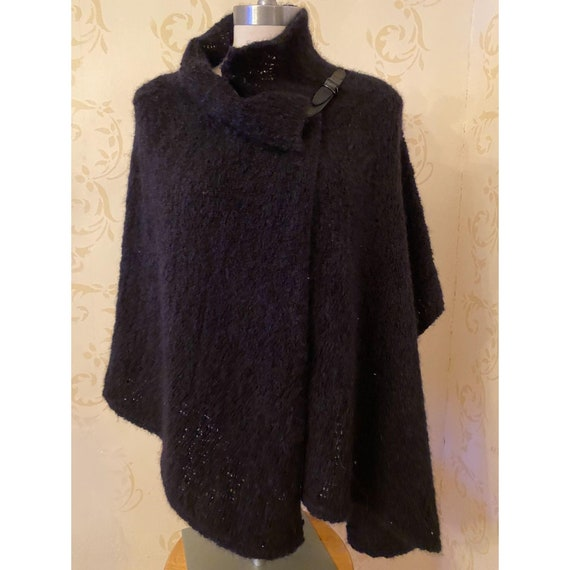 Eileen Fisher Leather Mohair Cape Ladies O/S