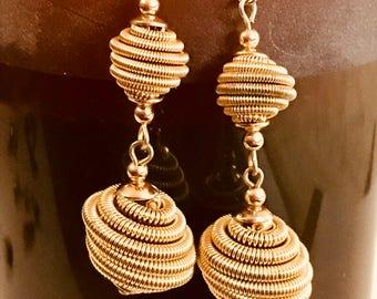 Gold effect beaded drop earrings