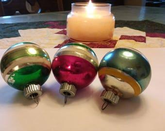 Shiny Brite Christmas Ornaments - circa 1950's - set of (3) three