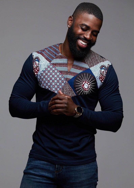 8f0aa5b3023 D iyanu Men s Lanre African Print Long Sleeve Shirt