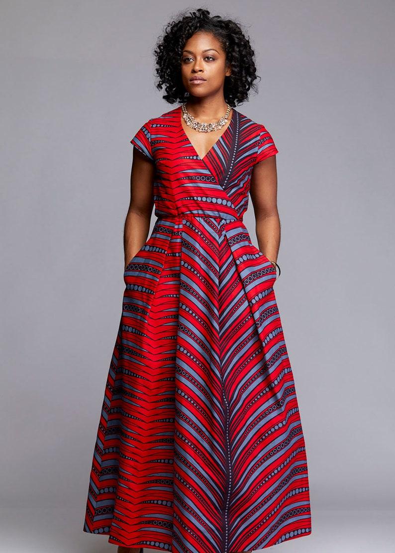 f6fbebfafd8 D IYANU Hadiya African Print Faux Wrap Maxi Dress
