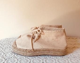 57addd908f7e78 cream canvas shoes vintage 90 s shoes cream espadrilles raffia shoes dead  stock shoes cream shoes boho cream shoes EU 38 US 7.5