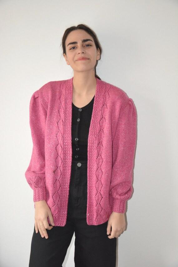 Clearance sale where can i buy bottom price sweetheart cardigan/hot pink cardigan/metallic sweater/70's 80's  cardigan/pink sweater/metallic cardigan/70's knitwear/boho cardigan/s/m/l
