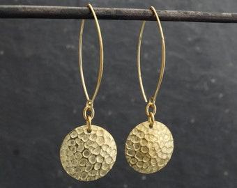 Brass Earrings, Boho Earrings, Hammered Earrings, Textured Earrings, Statement Earrings, Hoop Earrings