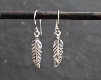 7c49ebe23 Silver Feather Earrings, Boho Earrings, Tiny Feather Earrings, Little Feather  Earrings, Sterling Silver 925