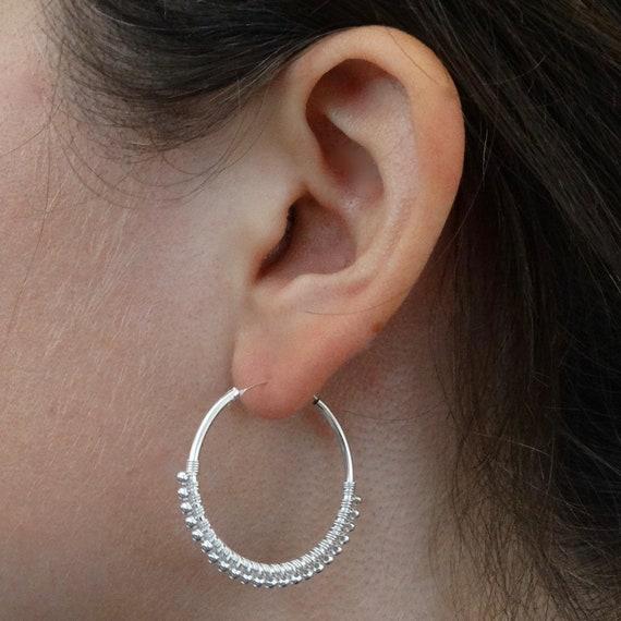 Meditation Healing Earrings Sterling Silver Earrings Dainty Sterling Silver Hoops Boho Gypsy Hoop Earrings Silver Hoop Earrings
