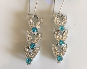 Aqua & Clear Rhinestone recreated vintage earrings from the 1980's