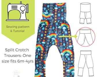 6m-4yrs, one size, Potty training sewing pattern / split crotch trousers /split pants / PDF pattern / elimination communication