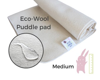 Medium Wool puddle pad, mattress protector for bed, floor, for potty training, elimination communication, plastic free