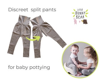 One Size 6m to 4 years EC split crotch trousers / potty training diaper free baby split crotch EC pants