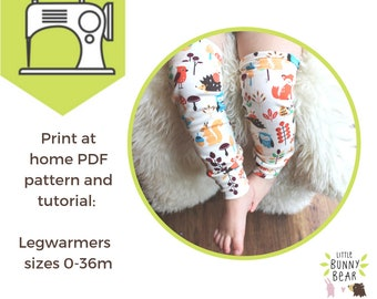 Instant Download PDF sewing pattern DIY baby leg warmers