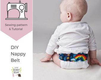 Nappy Diaper belt PDF sewing pattern, prefold belt, nappy belt, EC cloth diaper, elimination communication, potty training