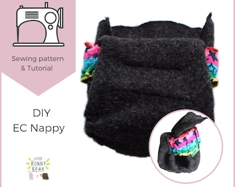 Drop flap nappy system PDF sewing pattern, nappy diaper belt and wrap, cloth diaper nappy, elimination communication, potty training