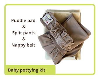 EC Essentials set, elimination communication, plastic free, split crotch pants, diaper belt, nappy free, gift set.