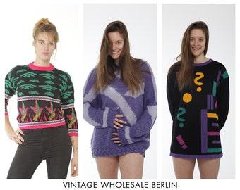 Vintage Pullover gemischte Menge 10 Artikel, Großhandel, 80er und 90er Jahre, gemustert, bunt, qualitativ hochwertige Großauftrag bereit für den Weiterverkauf