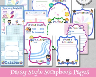 Daisy Style Scrapbook Pages - 14 Unique Pages - Instant Download - Print Your Own