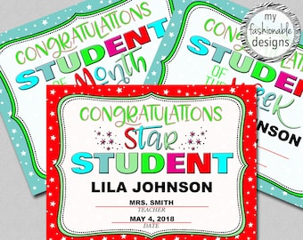 student certificates etsy