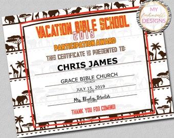 photo regarding Vbs Certificate Printable referred to as Vbs Etsy