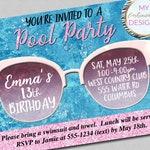 Pool Party Invitation, Birthday Invitation, Swimming Party