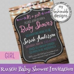 Rustic Baby Shower Invitation, Customized for You, Print Yourself