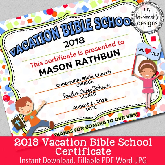 items similar to 2018 vbs certificate  vacation bible
