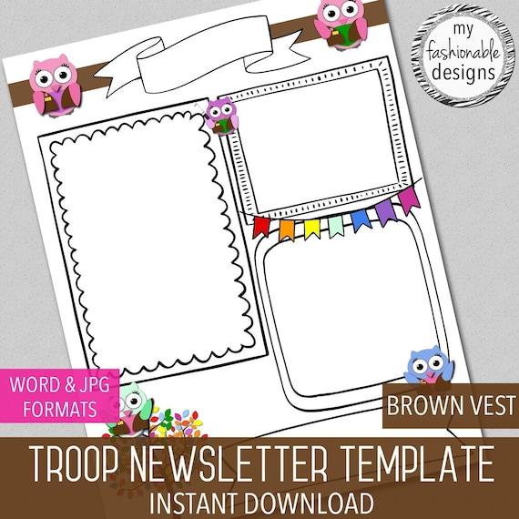 troop newsletter template brown vest owl word and jpg etsy