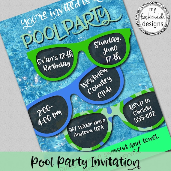 Pool Party Invitation Swimming Party Customized Digital Jpg File