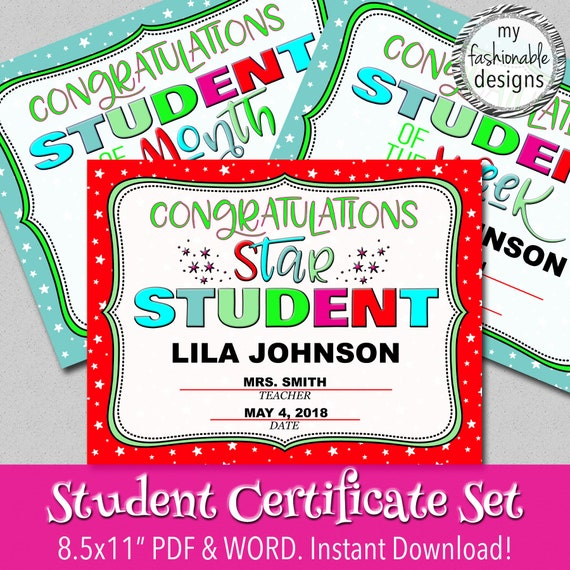 star student certificate student of the month student of the etsy