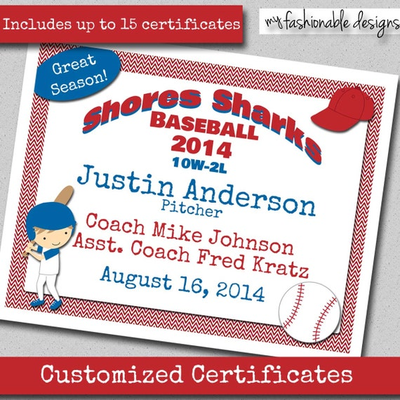 Items Similar To Baseball Certificates Customized Print Your Own