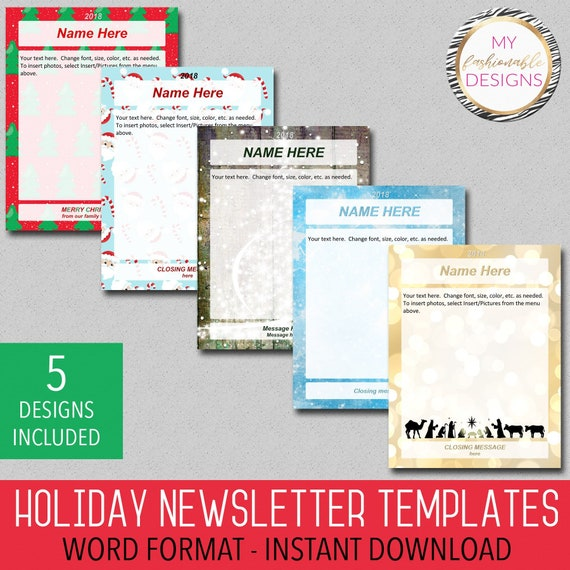 Holiday Newsletter Templates 5 Designs Included Christmas Etsy