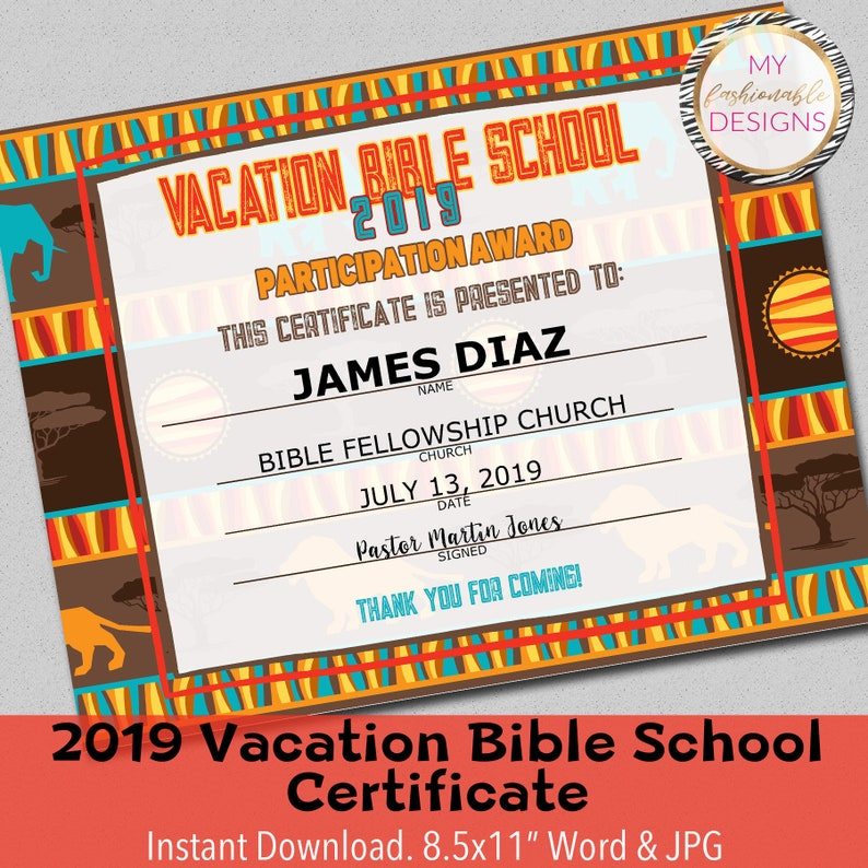 graphic regarding Vbs Certificate Printable identified as 2019 VBS Certification, Trip Bible Faculty, Prompt Obtain - 8.5x11\
