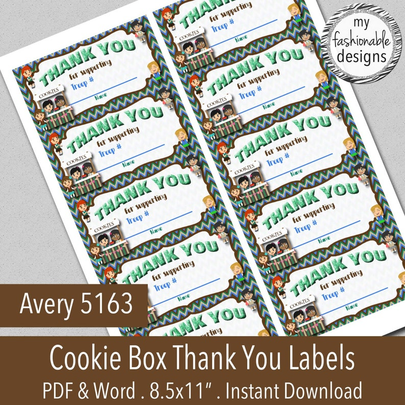Cookie Box Printable Thank You Labels, Avery 5163, Word & PDF format,  INSTANT DOWNLOAD