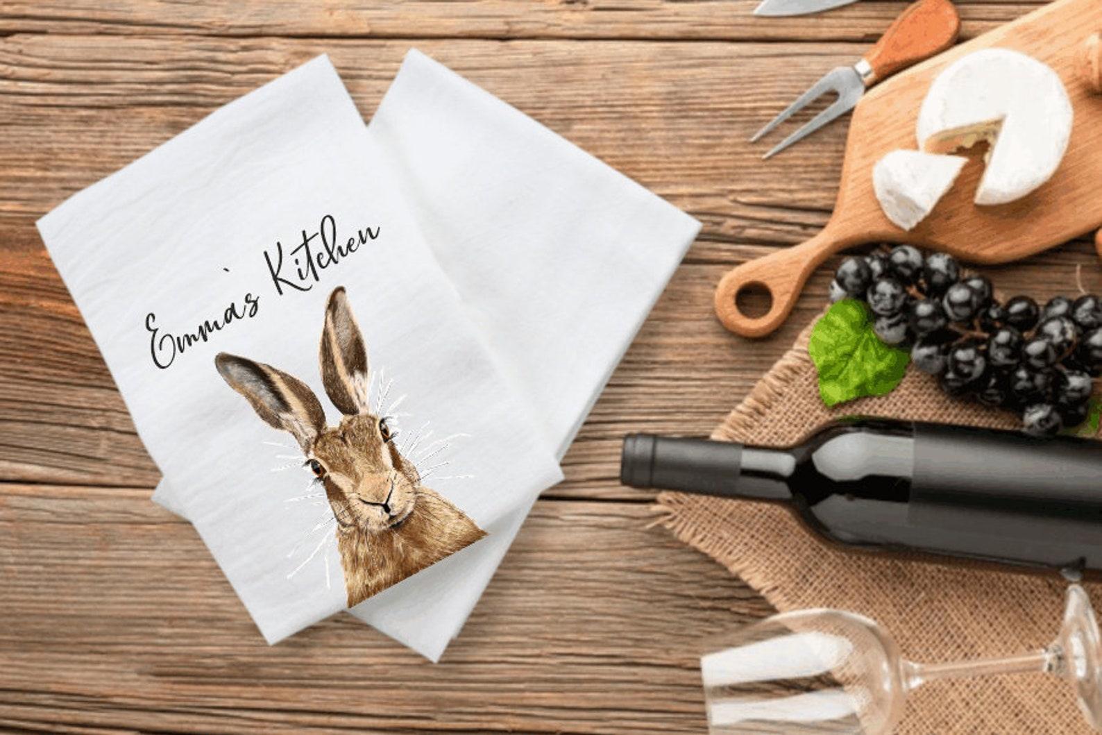 Hare Personalised tea towel