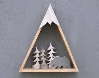 Mountain Shelf, Triangle, Rustic Wood, Wall Decor, Reclaimed Wood Shelf