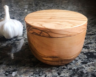 Olive Wood Salt Cellar with Lid, Wooden Spice Keeper, Sugar Box, Salt Cellar, Mom Gift, Cooking Gift, Mother's Day