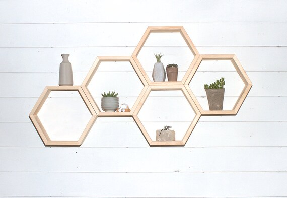 Hexagon Shelf, Wood Shelf, Honeycomb Shelves, Geometric Floating Shelf by Etsy