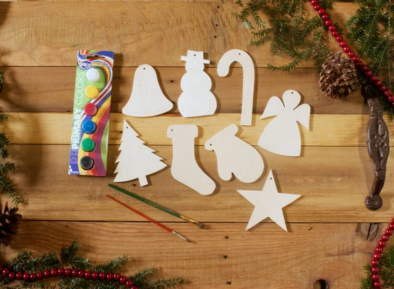 Christmas Gift Sets Diy.Christmas Ornaments Paint Set Craft Gift Set Diy Paint Kit Wooden Ornaments