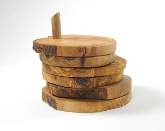 Olive Wood Coasters Set of 5 with Base, Storage Base, Free Form Live Edge Coasters, Rustic Coaster Set, East Storage, Wedding Gift