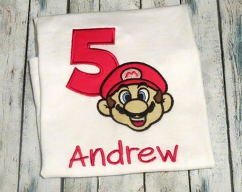 Personalized, super Mario Birthday Shirt- Mario Birthday shirt- Super Mario Brothers birthday shirt- Mario birthday party