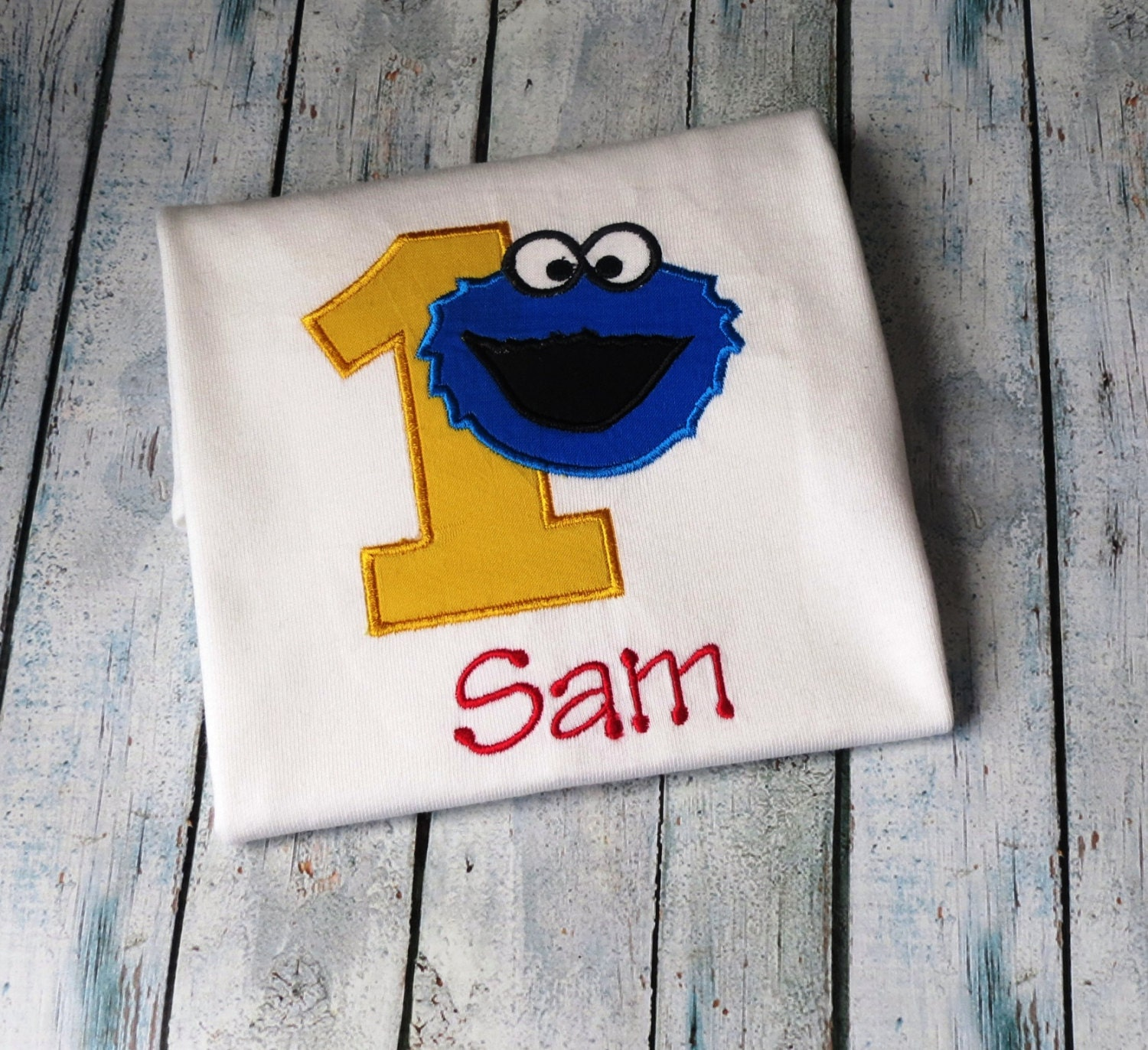 Personalized Cookie Monster 1st Birthday Shirt Sesame