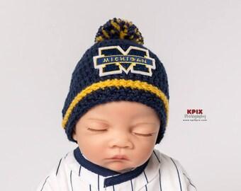 University of Michigan baby boy, girl, hat, newborn, preemie