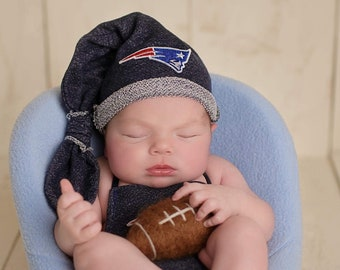 New England Patriots outfit set baby boy, girl, newborn, preemie - Long tail night hat, onesie and long pants