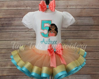 ea18d6d2d Moana Birthday Outfit ~ Moana Tutu Outfit ~ Includes Top, Ribbon Tutu &  Hair Bow ~ Customize in Any Colors of Your Choice!