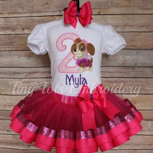 any character Paw patrol birthday tutu outfit Paw Patrol birthday outfit Paw Patrol Ribbon trim tutu Skye shirt Skye ribbon trim tutu