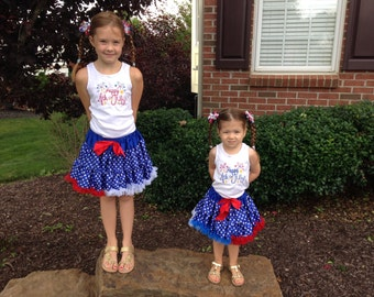 4th of July Outfit ~ Includes Happy 4th of July Top and Pettiskirt Tutu