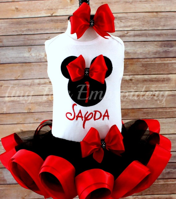 Ribbon Trim Tutu and Hair Bow ~ Customize In Any Colors of Your Choice! Minnie Mouse Birthday Outfit ~ Minnie Tutu Outfit ~ Includes Top
