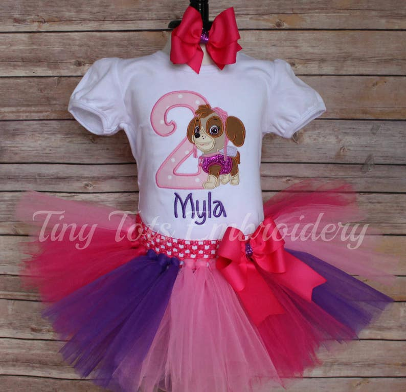 Paw Patrol Birthday Tutu Outfit ~ Paw Patrol Skye Outfit ~ Includes Top Tutu /& Hair Bow ~ Customize In Any Character!