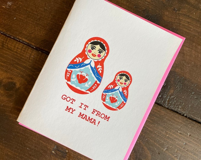 Featured listing image: Russian Doll Mothers Day Card - Handmade Hip Hop Babushka Card with Foiled Lettering