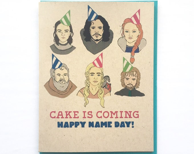 Featured listing image: Game of Thrones Birthday Card - Jon Snow Daenerys Tyrion Lanister Hodor card, Game of Thrones Art