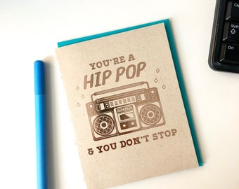 Hip Hop Father's Day Card- Funny Boombox Hip Pop Card, Card for Dad, Fathers Day Gift, Card for Him